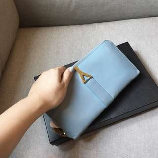 YSL Large Y Lign light blue large wallet