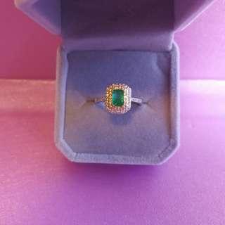 翠綠通透👑天然寳石贊比亞袓母綠純銀鍍18K白金戒指Emerald Silver Ring🌠主石4x6mm精工鑲嵌開口圈