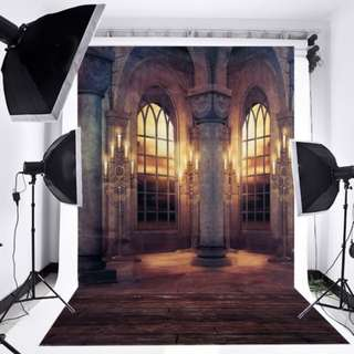 Retro castle palace window vinyl photography backdrop