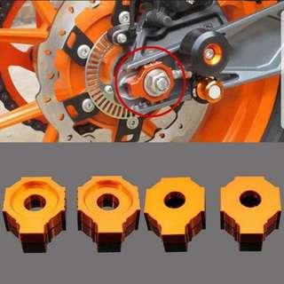 DIY Motorcycle 2pc Rear Axle Spindle Chain Adjuster Blocks / KTM DUKE 200 . 390 . 990