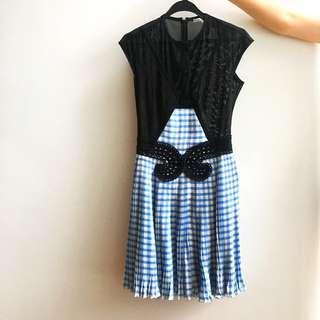 Carven Blue & Black Lace Plaid Dress