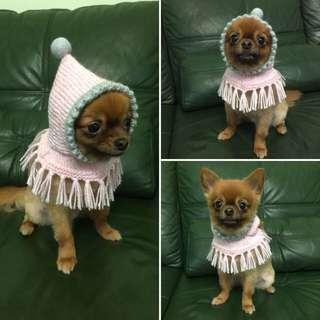 毛小孩冬季必備·寵物針織連帽斗篷脖圍
