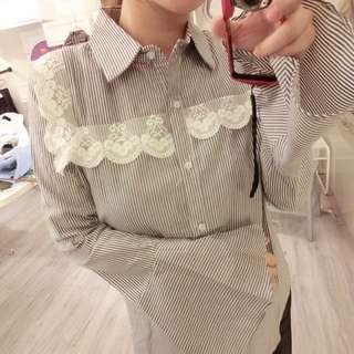 全新直條蕾絲勾繡衫