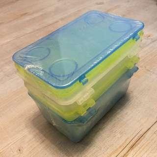 BNIP IKEA GLIS Storage Box with Lids - White/Green/Blue