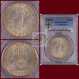 1908-S US-Philippines Peso - PCGS AU58