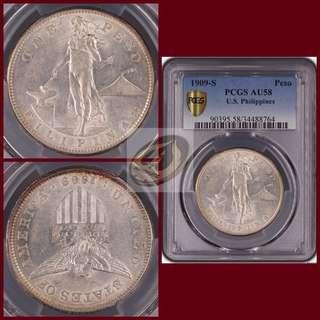 1909-S US-Philippines Peso - PCGS AU58