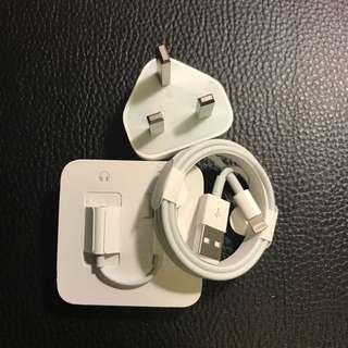 原廠I Phone 充電線連耳機及轉插線