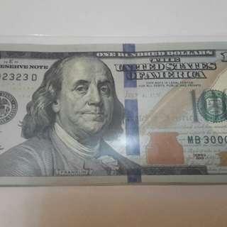 全新 100 美元  MB300002323