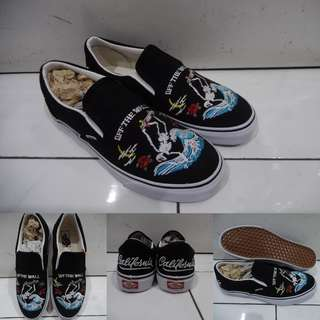 Sepatu Kets Vans Slip On California Grateful Dead Skull Surfer Black White Hitam Putih