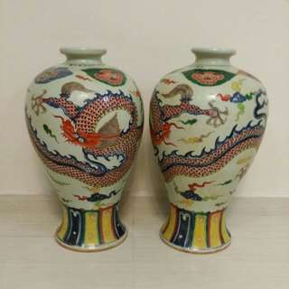 A pair of multi-coloured dragons Porcelain Vase