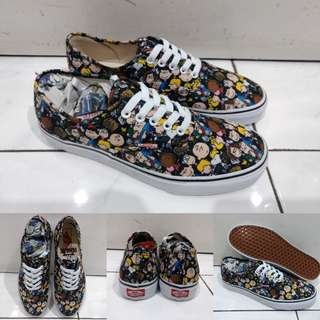 Sepatu Kets Vans Authentic Peanuts Collections On The Gang Snoopy Brown Coklat