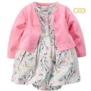 Dress carter 2in1 bayi perempuan murah lucu branded size 6-24m