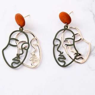 korean vintage portrait face earrings