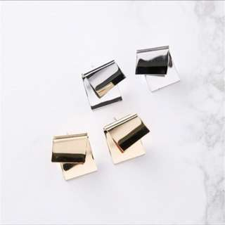 gold korean folded metal style earrings