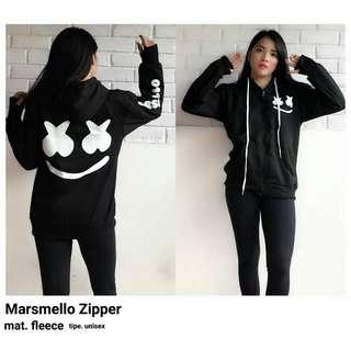 HR - 0118 - Outwear Jaket atau Sweater Hoodie Marsmellow Zipper