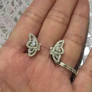 18K GP crystal earring   超閃鍍18K金水晶蝴蝶耳環 鋯石耳環