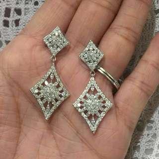 18K GP crystal earring   超閃鍍18K金水晶耳環 防敏針 鋯石耳環