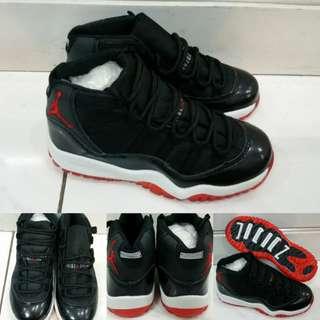 Sepatu Anak Kets Air Jordan 11 High Kids Bred Black Red Hitam Merah