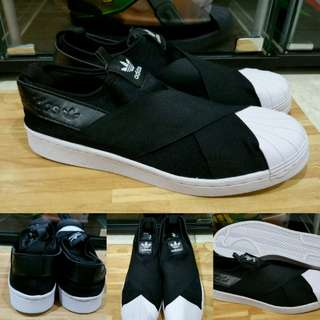 Sepatu Kets Sneakers Adidas Superstar Slip On Classics Black White Hitam Putih