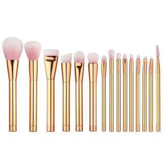 (PO) 15 pcs Gold Makeup Brushes