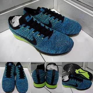 Sepatu Lari Kets Nike Flyknit Racer Blue Lagoon Green Biru Hijau