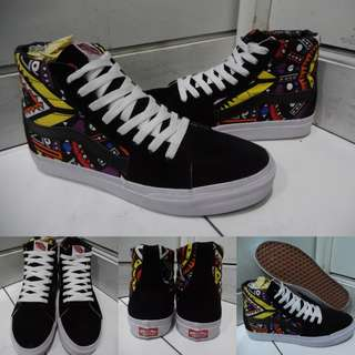 Sepatu Kets Sneakers Vans SK8High Classics Tribal Art Print Black Hitam
