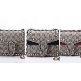 Gucci, Dionysus GG Supreme Mini Bag With Crystals Black, Brown