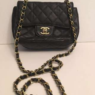 CHANEL black handbag leather??