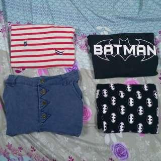 二手 蝙蝠俠上衣 紅白條紋短袖 整套販賣