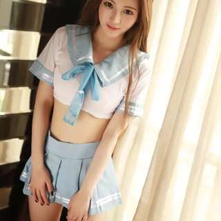 Lingerie Sailor Student Uniform Short Sleeve Costume Cosplay Role Play Sky Blue