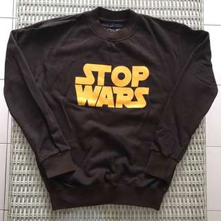 🎉reduced🎉 Ultralight💯% Authentic brown 'Stop Wars' pullover for SGD$10 (size M)