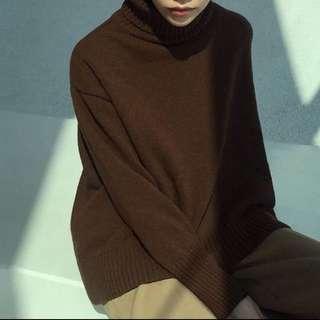 葒 羊毛高領寬鬆剪裁毛衣 咖啡色