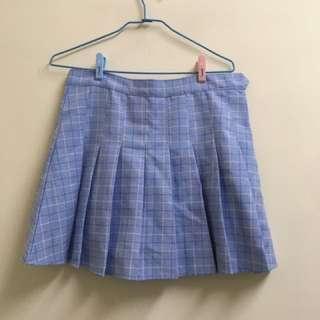 (1)貝斯奇自訂款藍格紋百褶裙