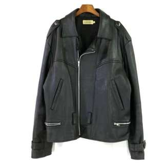 【Calvin Klein】美國製  CK  牛皮 真皮 黑色 重磅騎士皮衣外套  L號  質感超好 帥氣 便宜賣