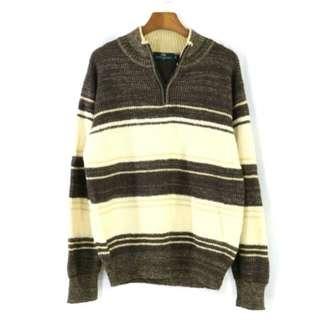 日本 alba varden 羊毛 咖啡條紋 長袖 微高領 半領 拉鍊 毛衣