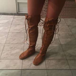 Pocahontas Above Knee Doof Festival Tan Brown Boots