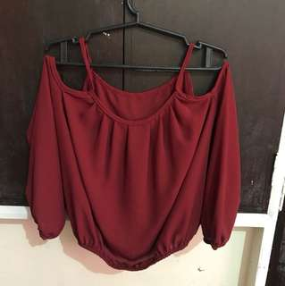 Crimson cold-shoulder top