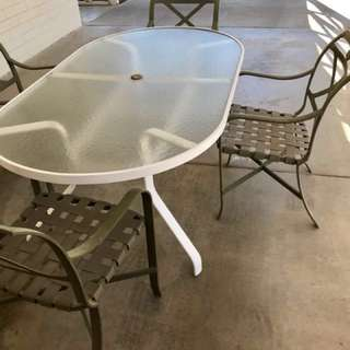 Patio set with large oval table