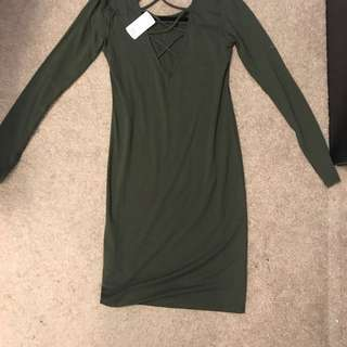 Olive knee length fitted dress