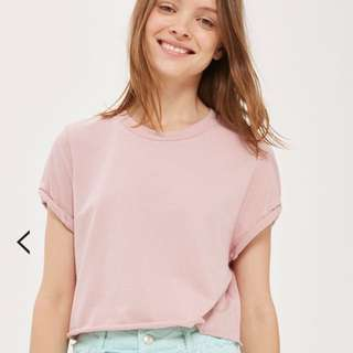 Topshop crop top roll back sleeve size 4
