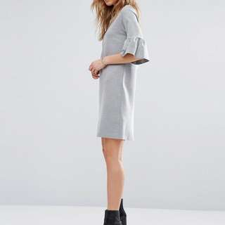 Minimal Grey Ruffle Sleeve Dress ASOS