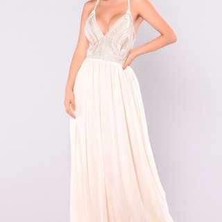 Fashion Nova maxi dress ivory