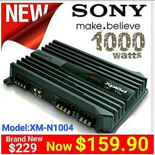 Brand New Sony Amplifier 1000watts Max.  4/3/2 channels Bridgeable. 70Wx4 Rated Power.. (Model: XM-N1004)  Usual Price: $229.Special Offer:$ 159.90 ( Brand New In Box & Sealed + 30 Days Warranty) whatsapp 85992490 to Pickup Today.