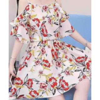 Cold shoulder floral skater dress