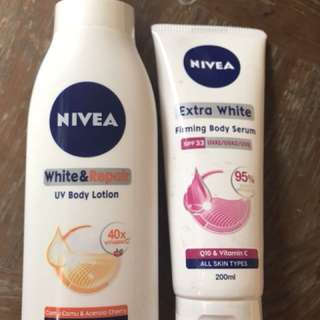 Nivea body serum and body lotion