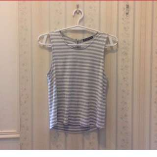 H&M Gray Stripes Sleeveless Top