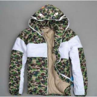 BAPE A BATHING APE CAMO SHARK HOODED COAT JACKET