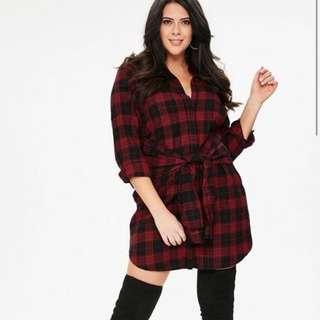 MISSGUIDED+ Plaid shirt dress with tie waist NEW Size 18 plus size