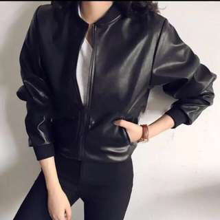 Bomber Jacket Black PU Leather #midjan55