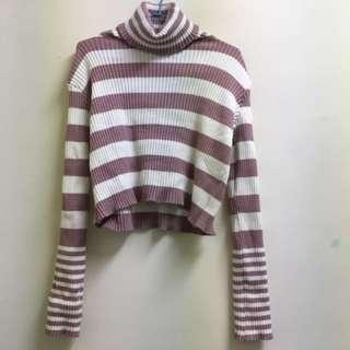 全新粉紫白條紋高領羅紋毛衣